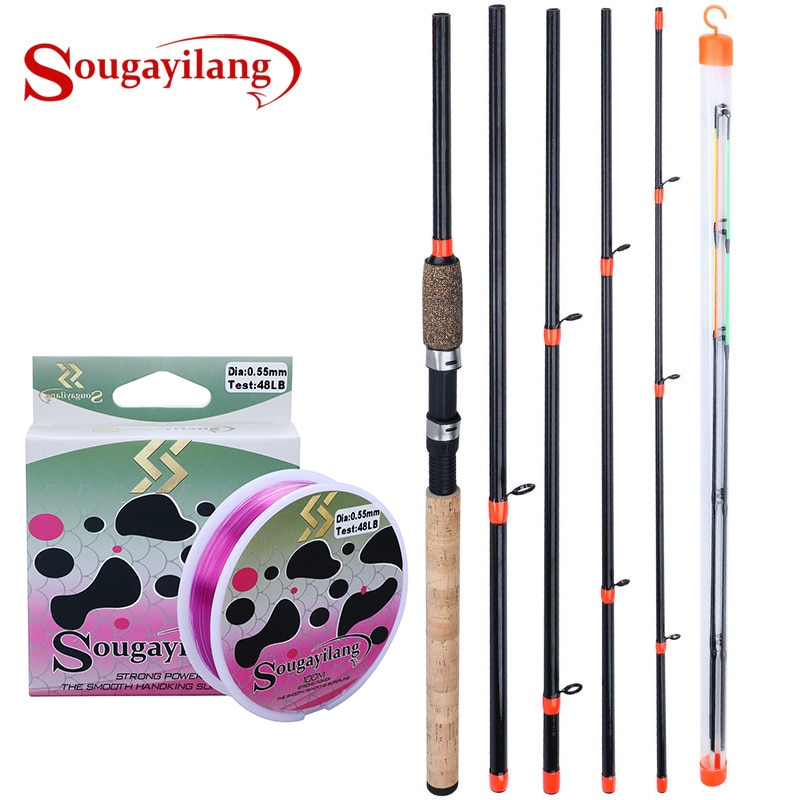 Sougayilang, caña de pescar de 6 secciones, 3M L M H, caña de pescar de potencia, caña de fibra de carbono, caña giratoria de viaje, equipo de pesca de carpa