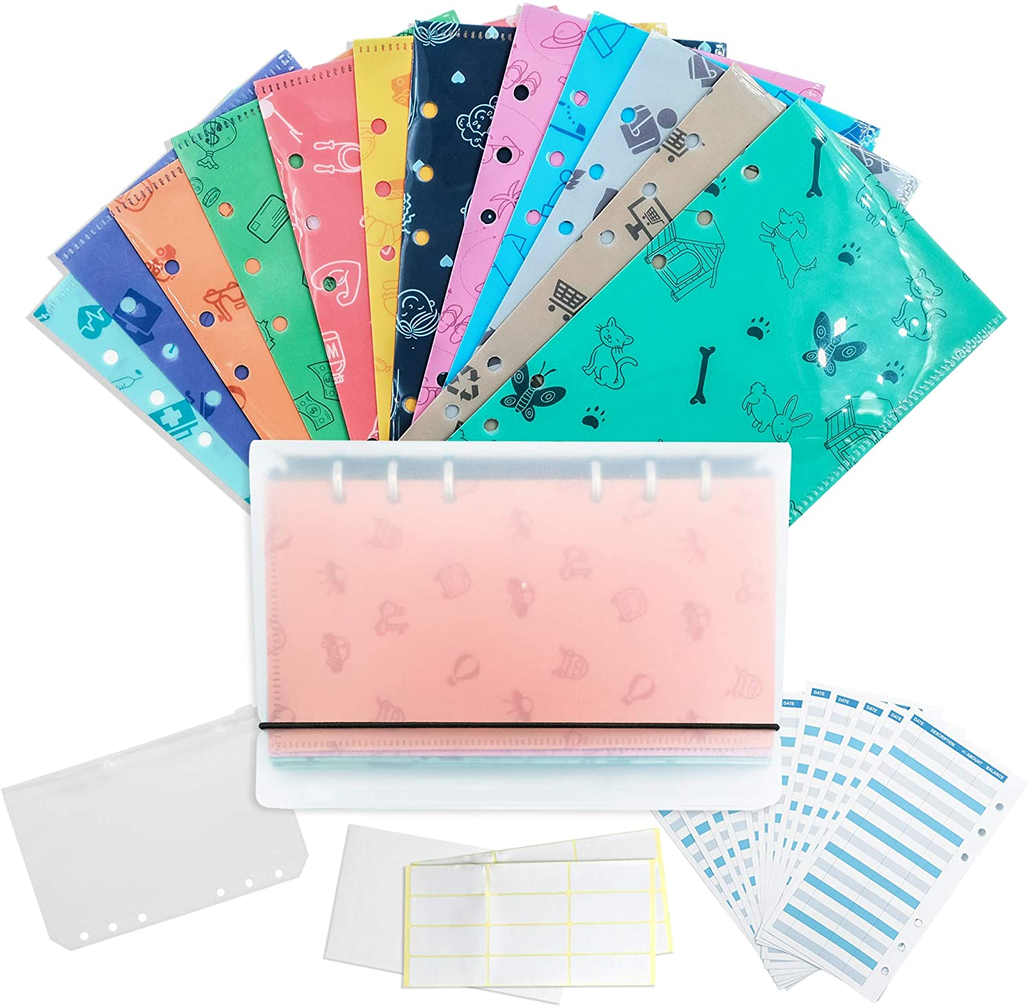 Plastic Budget Wallet for Cash Savings Reusable Cash Envelopes Binder Budget System with 12 Budget Sheets and 2 Stickers,1 Pouch