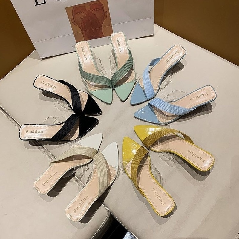 Women Sandals 2021 Summer Women Shoes New Pointed Stiletto Transparent Cross Strap Sandals and Slippers Women Casual High Heels meotina sandals women cross strap high heel shoes pointed toe stiletto heels dress ladies sandals summer black large size 43