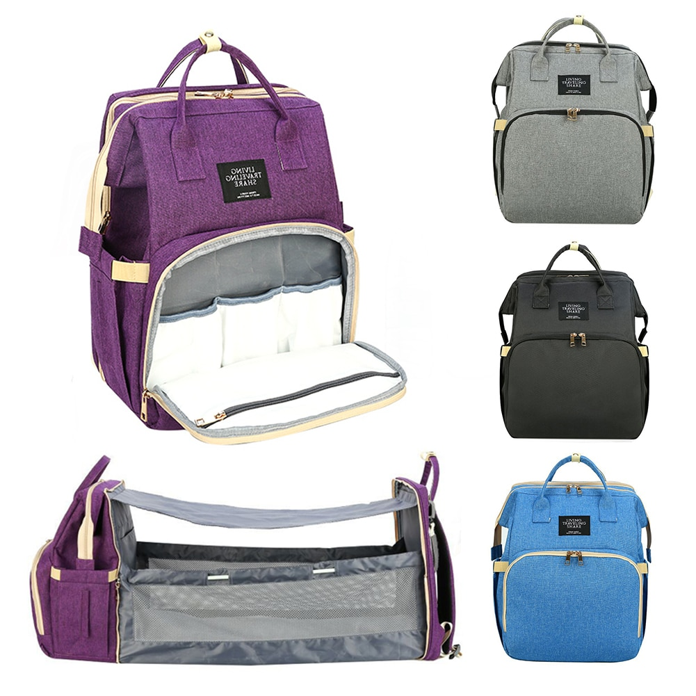 5-in-1 Convertible Baby Diaper Bag Lightweight Portable Multi-purpose Travel Mommy Bag Backpack With Changing Bed Baby Bed Crib