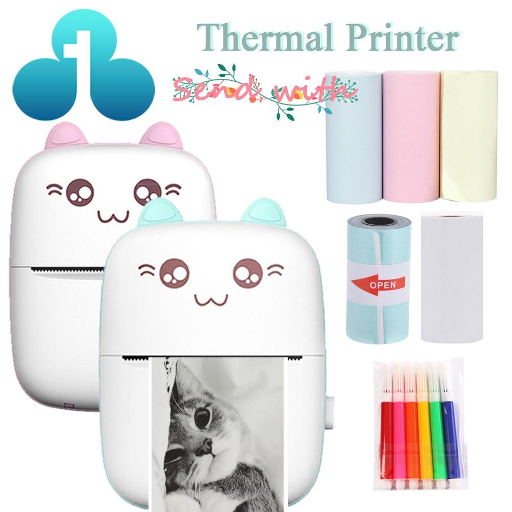 Portable Thermal Printer MINI CAT Print Photo Pocket Thermal Label Printer 58mm Printing Wireless Bluetooth Android IOS Printers