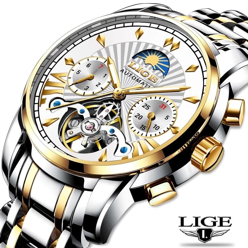 LIGE  Top brand Mens Watches Brand Luxury Automatic Mechanical Business Clock Gold Watch Men Reloj Mecanico de Hombres