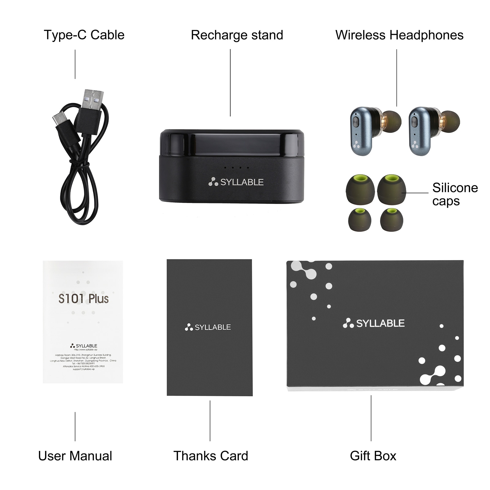 Original SYLLABLE S101 Plus Fit for BT V5.2 bass earphones wireless headset of QCC3040 Chip S101 Plus Volume control earbuds enlarge