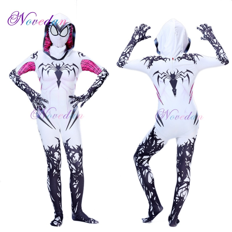 Spider Gwen Costume Spandex Zentai Venom Superwoman Costume for Halloween Cosplay Spider Suit Jumpsuit Costumes venom costumes custom 3d printed symbiote cosplay costume zentai spidey suit for adults kids children