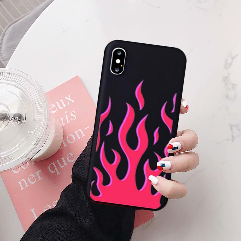 JAMULAR Fashion Flame patrón teléfono caso para iPhone X XS MAX 11 Pro XR 7 8 6Plus SE 2020 negro rojo suave silicona contraportada Capa