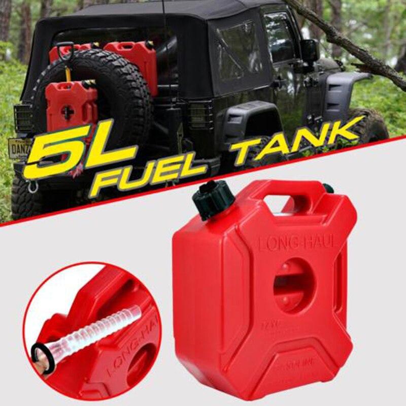 Contenedor de gasolina 5L 1,3 galones de repuesto depósito de combustible de plástico 290x250x120mm tanques de gasolina para coche contenedor de aceite de