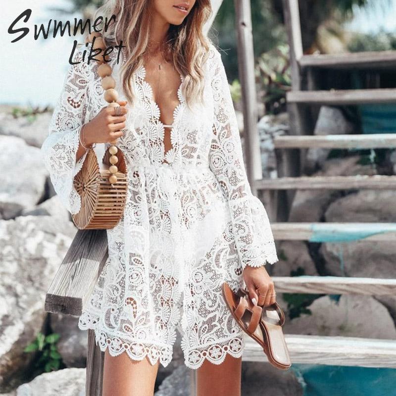Sexy ver aunque bikini 2019 blanco traje de baño mujeres bordado Vestido de playa cuello en V traje de baño mujer playa cubierta ups ropa de playa de encaje