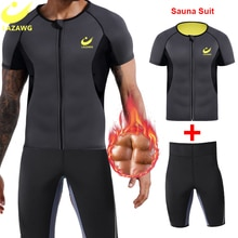 LAZAWG Mens Sauna Sweat Suits Vest and Height Waist Pant Gym Slimming Pant Fitness Shirt Waist Train
