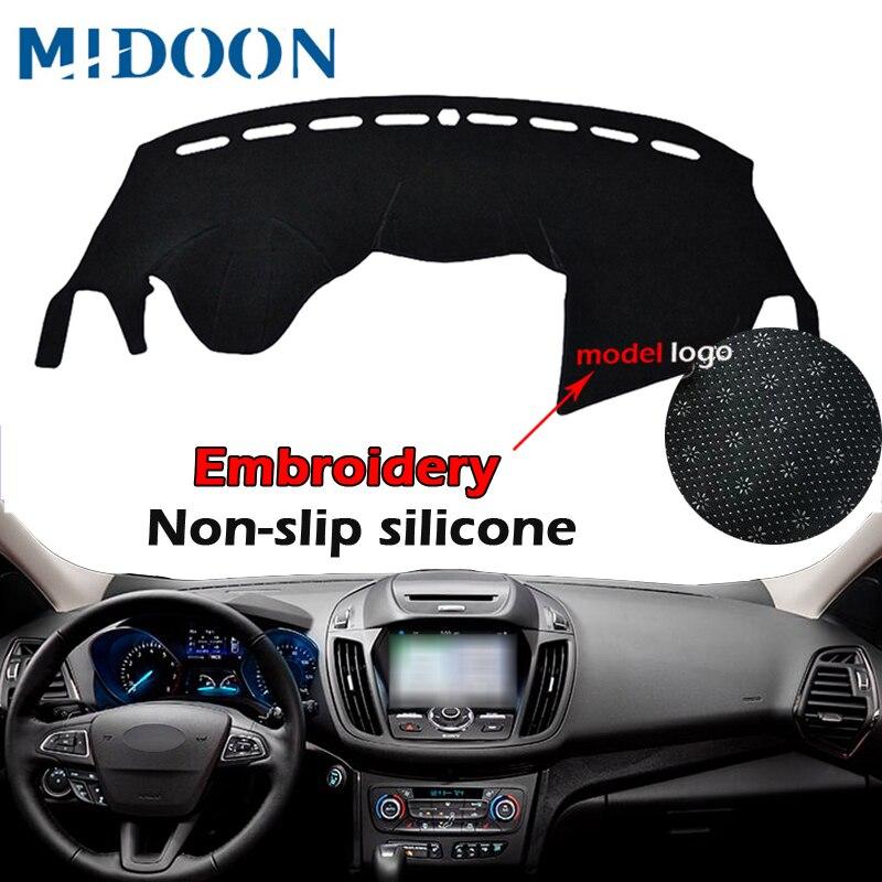 Funda para salpicadero de coche MIDOON LHD, alfombrilla para tablero, alfombrilla para salpicadero, alfombrilla Anti-UV para Ford Escape Kuga 2013 2014 2015 2016 2017 2018
