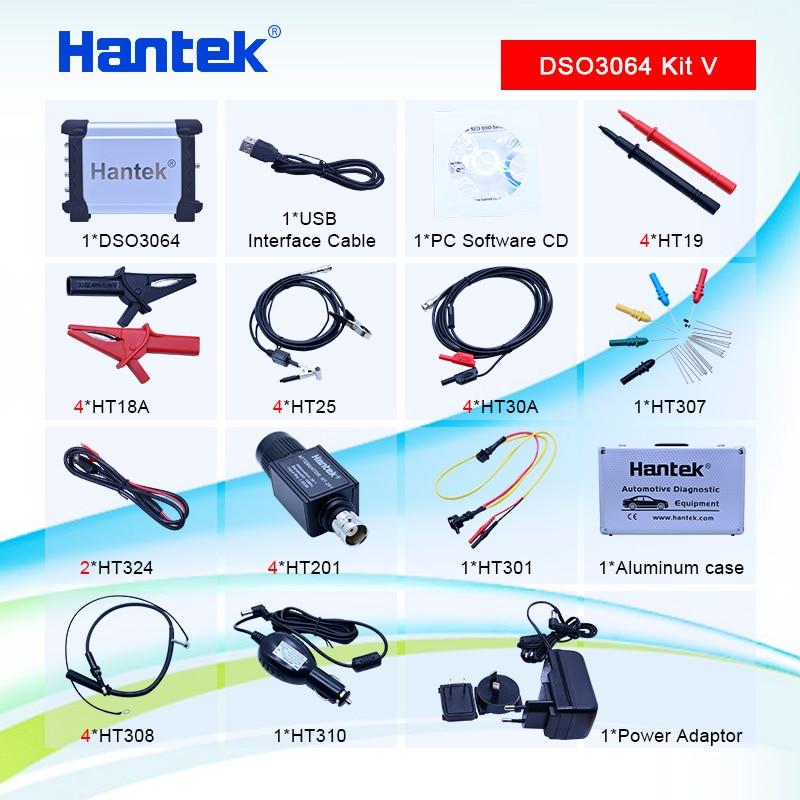 Hantek DSO3064 Kit V Automotive Car Diagnostic Oscilloscope USB 2.0 4CH 200MS/s 60MHz Frenquency Counter, FFT/LAN optional
