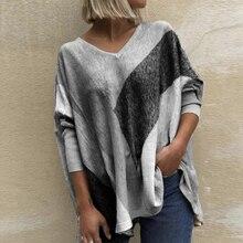 Plus rozmiar 5xl Tshirt Scpiped koszulka damska elegancka Casual kobiety topy swetry 2020 jesień zima V-neck Tee Shirt Femme
