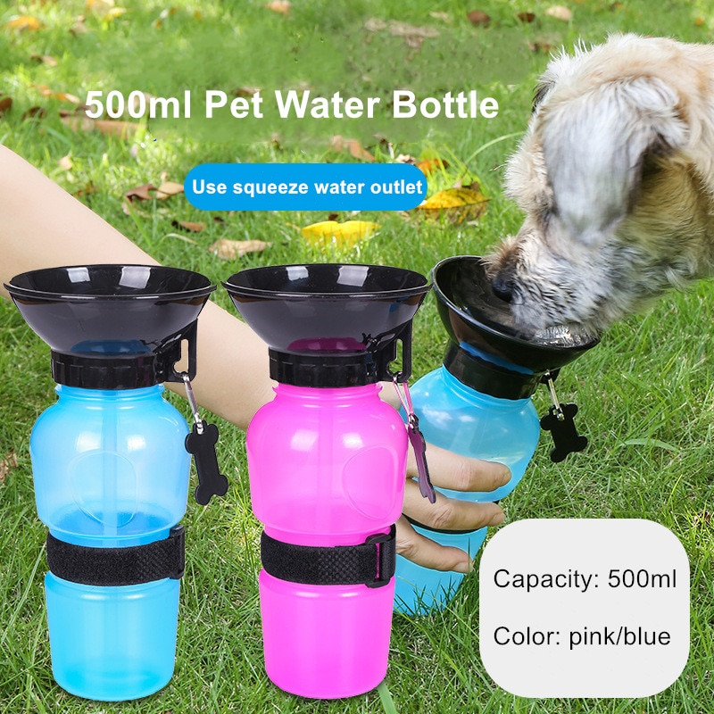 500ml cão garrafa de água pet gato esporte portátil viagem ao ar livre cães tigela de água potável caneca de água dispensador