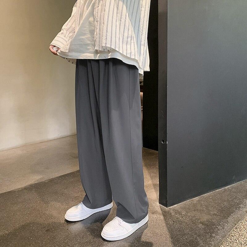 Серые Черные Костюмные брюки со шнуровкой мужские модные мужские строгие брюки корейские свободные повседневные широкие брюки мужские пря...