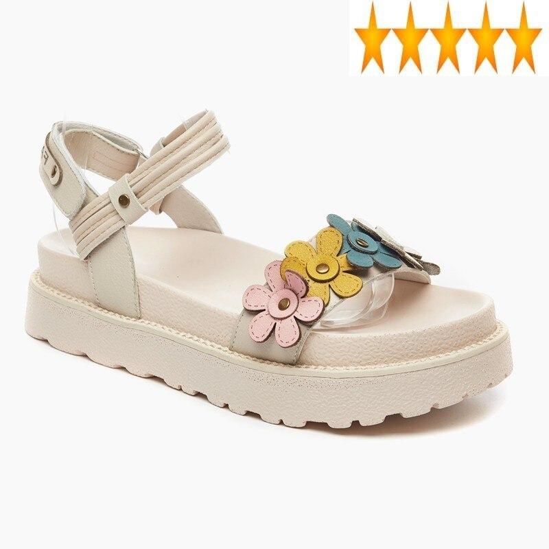 Femininos de Couro Dedo do pé Casual Sapatos Genuíno Moda Doce Flores Cunhas Sandália Verão Aberto Gancho Loop Fundo Grosso Sandálias Plataforma