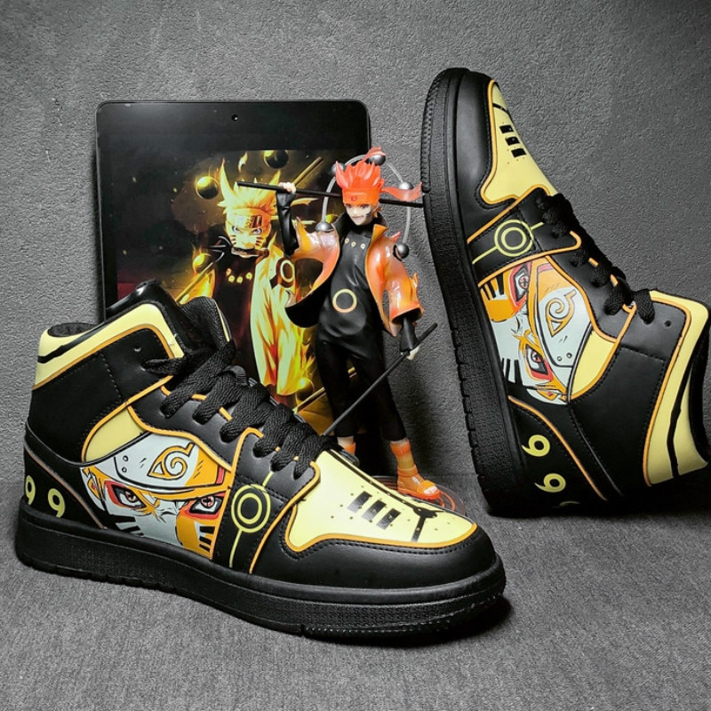 Naruto Anime Shoes Men Hip Hop Shoes Fashion Clunky Sneakers for Men Casual Shoes Travel Mens Running Shoes High Top Sasuke