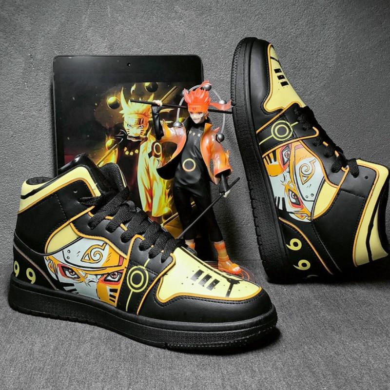 ناروتو أنيمي أحذية الرجال الهيب هوب أحذية موضة Clunky أحذية رياضية للرجال حذاء كاجوال سفر رجالي احذية الجري عالية الأعلى Sasuke