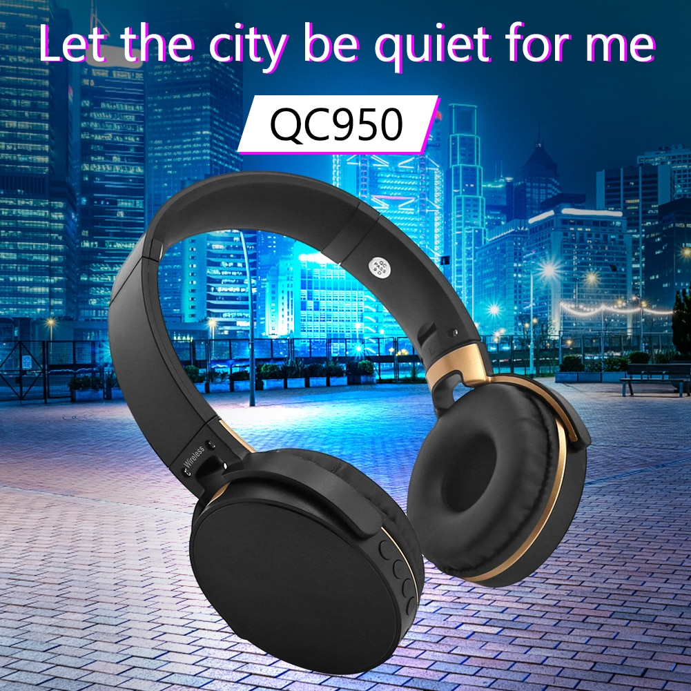 On Ear Bluetooth Headphones Foldable QC950 Wireless Wired Stereo Headsets w/ Mic Easily Carrying Lig