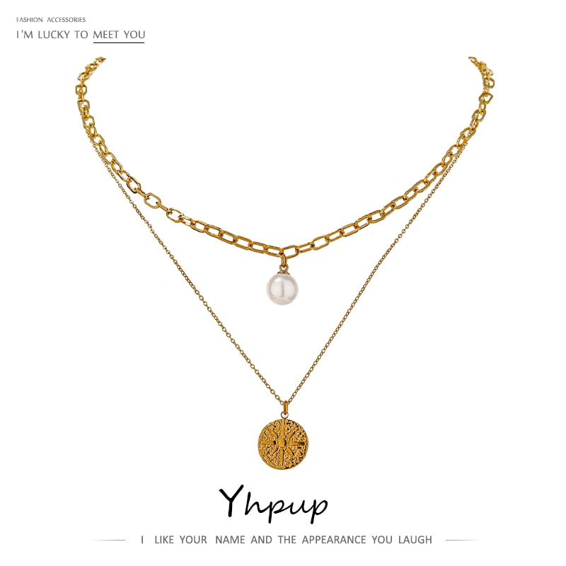 Yhpup Elegante Imitatie Parels North Star Gelaagde Ketting Voor Vrouwen Rvs Choker Metalen Ketting 18 K Accessoires