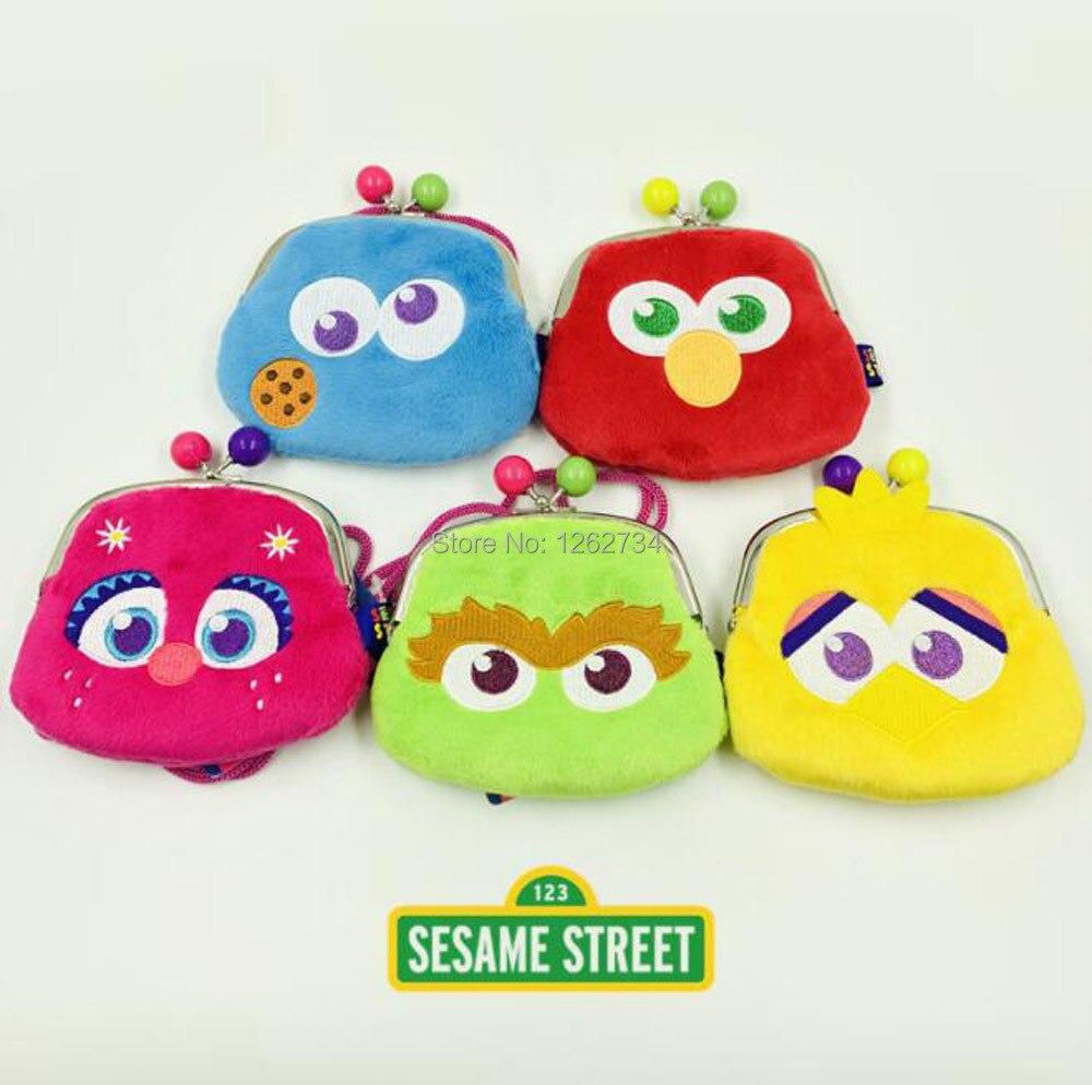 5 estilos sésamo rua elmo biscoito monstro grande pássaro oscar abby cadabby 10x12cm bolsa de ombro saco de moedas figura brinquedo varejo