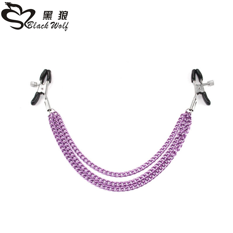 Black Wolf 1 pair Stainless Steel Metal Chain Nipple Milk Clips Breast Clip Sex Slaves Nipple Clamps Sex Toys Style for Couples breast clamp clips vibrator for women 20 speeds nipple shaking clamps breast clip sex slaves sex toys stimulate sex shop