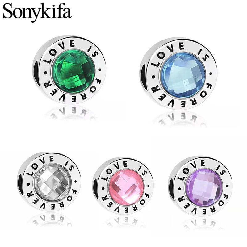 BRACE CODE 2PC new fashion crystal love charm for original fashion Pandora bracelet female DIY jewelry accessories