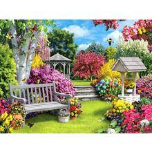 5D broderie de fleurs diamant carré   Peinture diamant complète, paysage jardin, point de croix, mosaïque, photos strass, décoration de maison