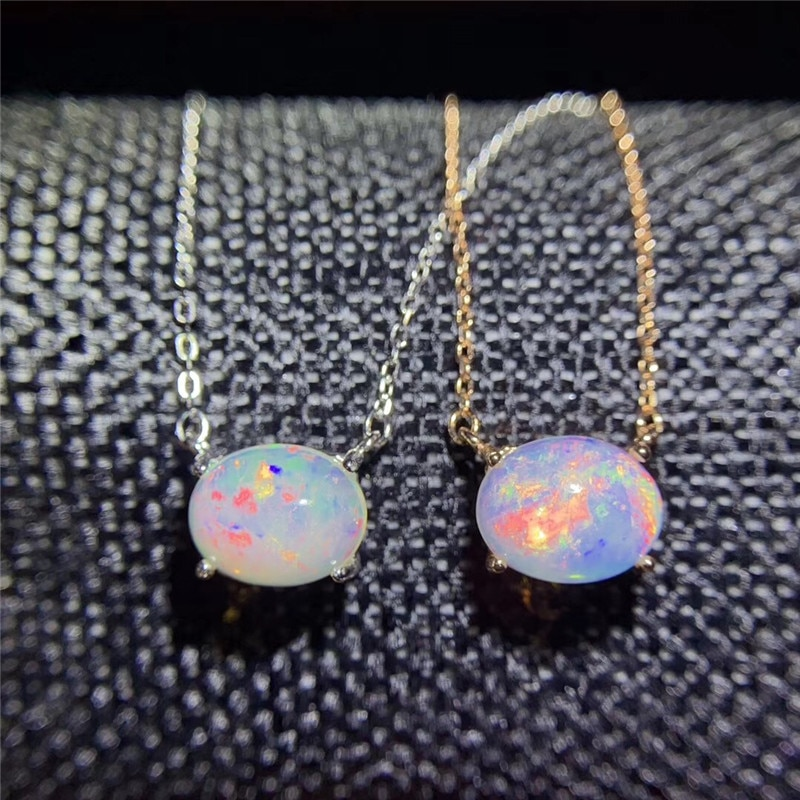 Genuine Opal Necklace for women engagement gift 8*10mm Natrual Colorful Gemstone Chains Necklace Fine Jewelry 925Sterling Silver