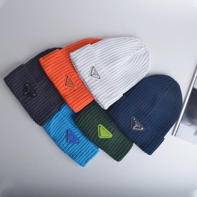 2021 primavera algodão triângulo sinal de lã bonés feminino marca prada chapéu masculino quente chapéus flanging cor sólida para estudante saa31970