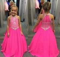 2020 cute fuchsia girls pageant dress princess beaded crystals party cupcake young pretty little kids queen flower girl dress