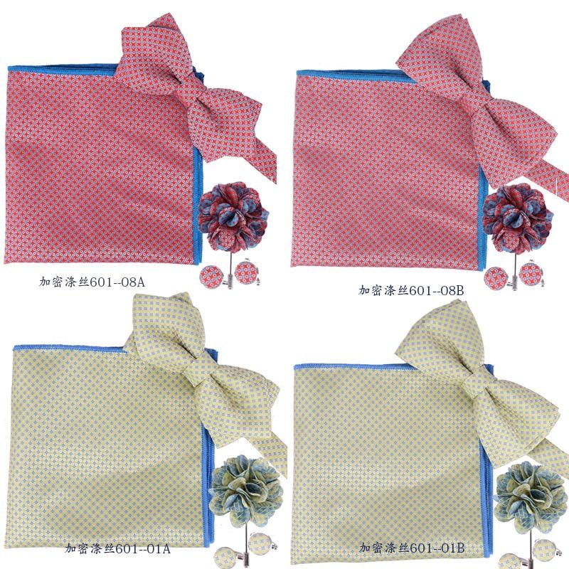 Man Tie Gift Box Cufflink+Bowtie+Hanky+Cuff-link Pocket Square Handkerchief Paisley Houndstooth Borboleta Gravata Holiday Gifts