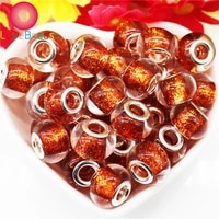 10pcs gold color glitter powder big hole round glass murano silver plated spacer beads fit pandora charm bracelet women jewelry