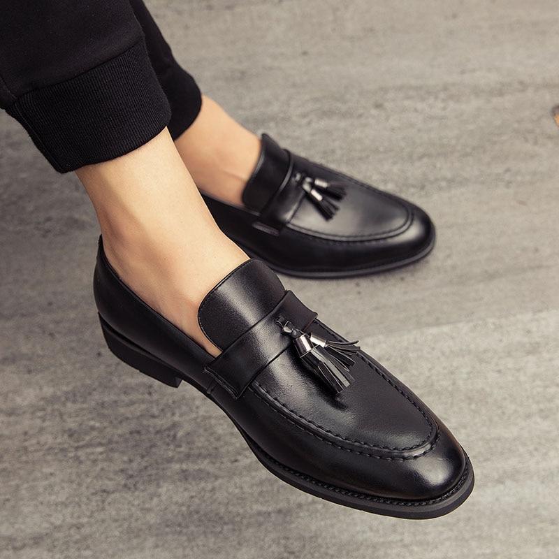أزياء والجلود الترفيه مريح عارضة المتسكعون الرجال الأحذية الفاخرة العلامة التجارية الإيطالية شرابة شهم أحذية Sapato الاجتماعية Masculino II