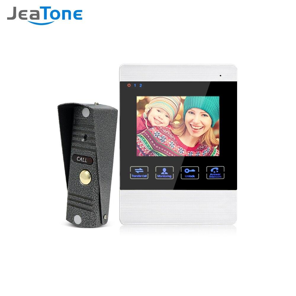 Jeatone 4 inch HD Led Video Door Intercom System Bell 1200TVL Camera Automatic Storage Release Unlock Metal Doorbell