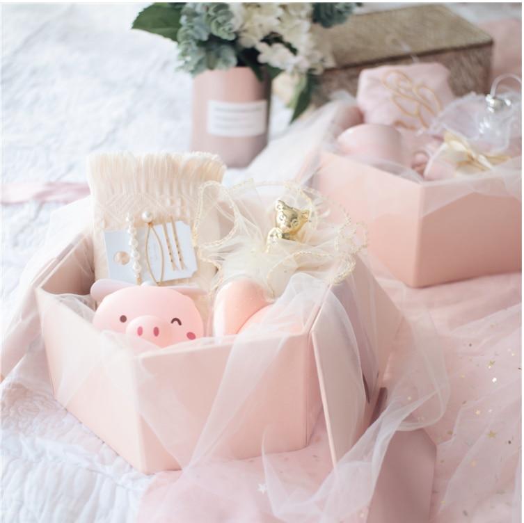 Rosa caja de joyería de regalo de vuelta para favores de la boda de lujo regalo regalos de cumpleaños festival para las mujeres novia de la taza de cristal bolsa