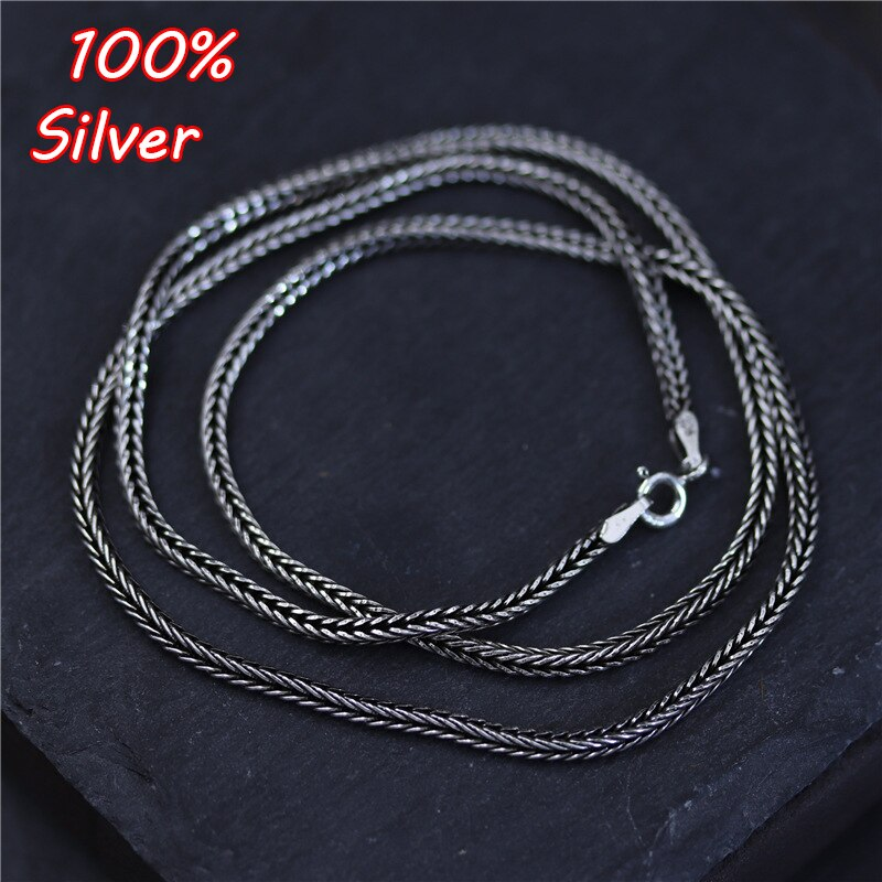 45/50/55/60/65/70/75cm Fashion 925 Sterling Silver Color Jewelry Foxtail Chain For Men and Women Necklace Long Clavicle Chain