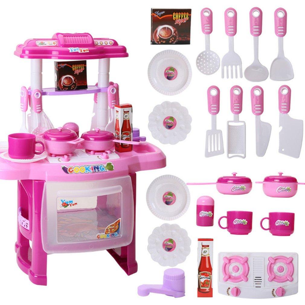 Набор игровой посуды для девочек, игрушки, легкая музыка, имитация кухни, миниатюрная кухонная игрушка для детей, подарок Xmax