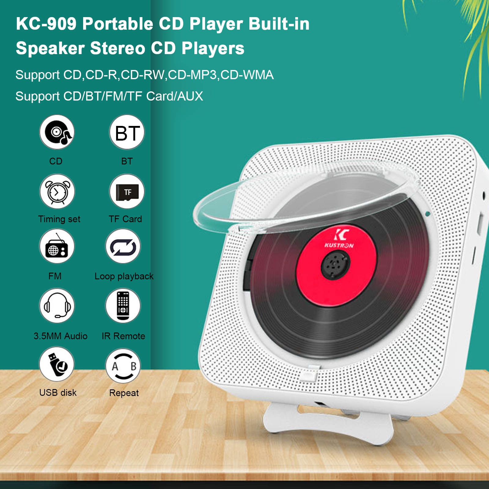 Portable CD Player Bluetooth Speaker Stereo CD Players LED Screen Wall Mountable CD Music Player with IR Remote Control FM Radio enlarge
