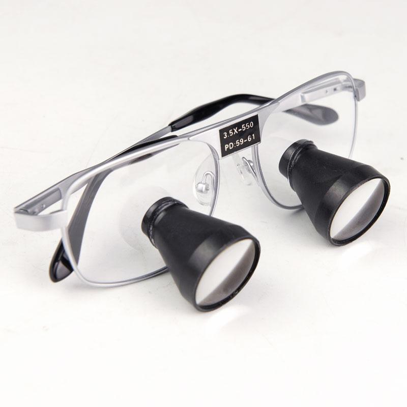 المكبر ثنائي العينين 3.5X القابل للتخصيص ، عدسة جراحة العدسة 550 500 420 340 ، مسافة عمل اختيارية