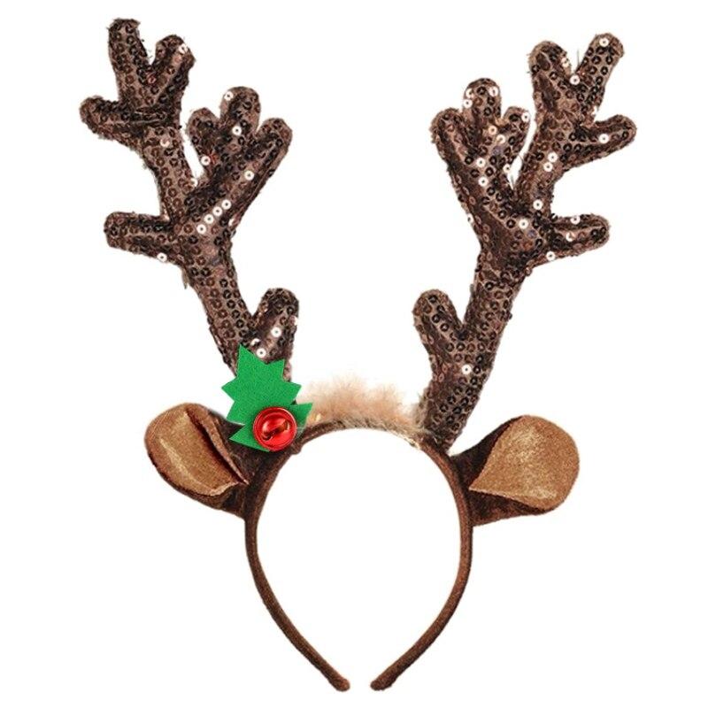 Elk veado chifres bandana bonito rena chifres aros de cabelo accesorios navidad festa de natal traje suprimentos