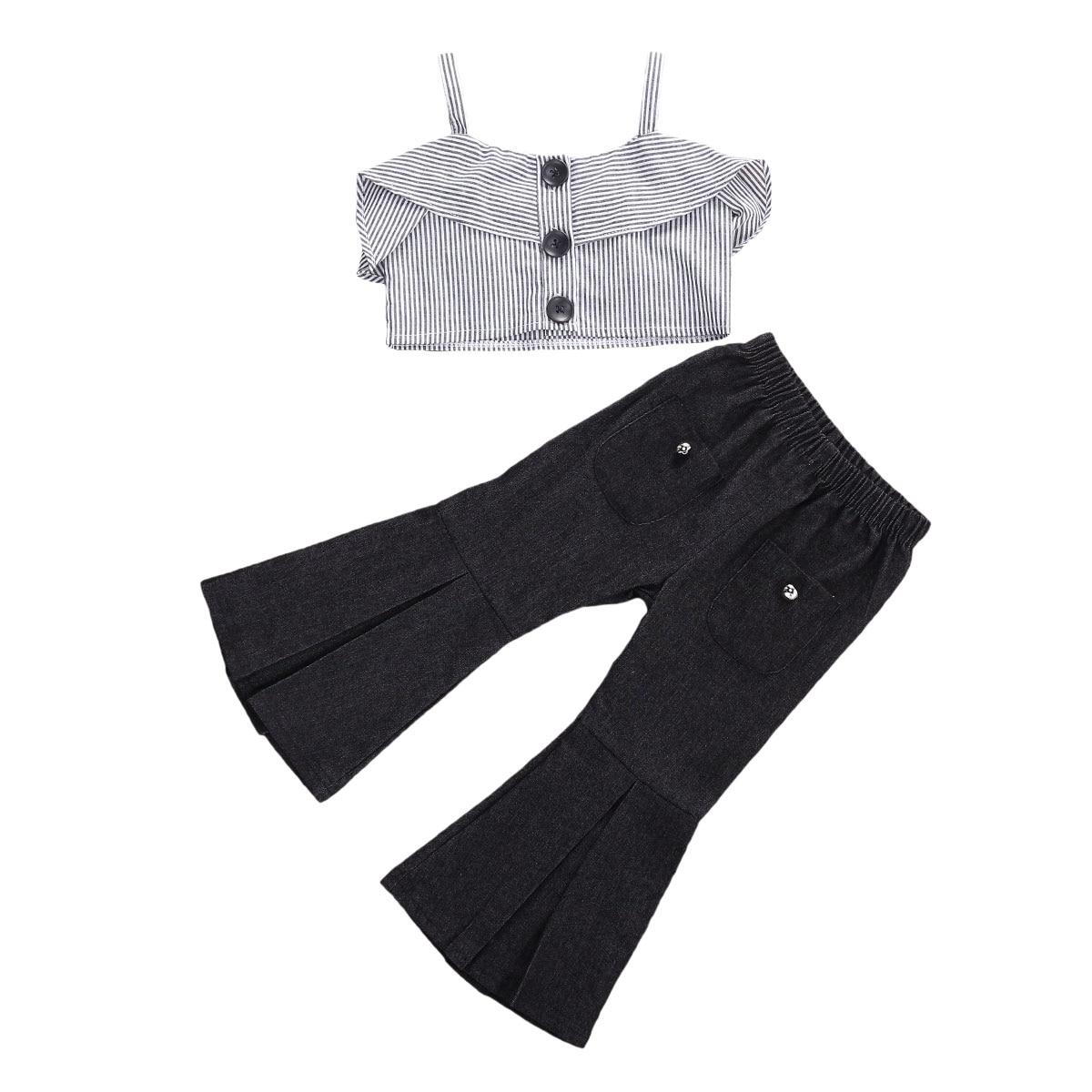 Pudcoco 2-7y verão infantil bebê gilrs casual listrado babados tank tops + preto flare pants bell bottom casual conjuntos de roupa