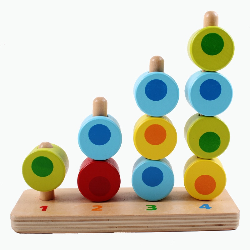 Wooden Montessori Porous Cognitive Mathematics Matching Educational Toys Preschool Baby Early Learning Building Block Kids Toys new wooden baby toys montessori wood fractional frame learning educational preschool training baby gifts