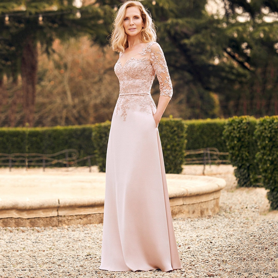 2021 Winter Party Gown A-line V-Neck 3/4 Sleeves Vestidos de Festa Mother of the Bride Dress with Po