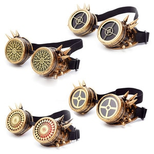 Vintage Steampunk Glasses Gothic Spiked Rivet Welding Cyber Goggles   Outdoor Sunglasses Victorian Costume Accessories