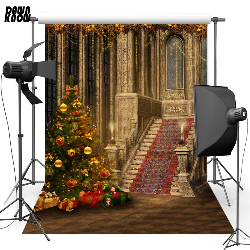 DAWNKNOW Christmas Tree Vinyl Photography Background For Baby Gift Staris Photo Shoot Backdrop For Christmas Photo Studio L844