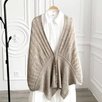 2021 new fashion pearl button knitted scarf for women autumn winter warm scarves female luxury shawl and wraps pashmina poncho