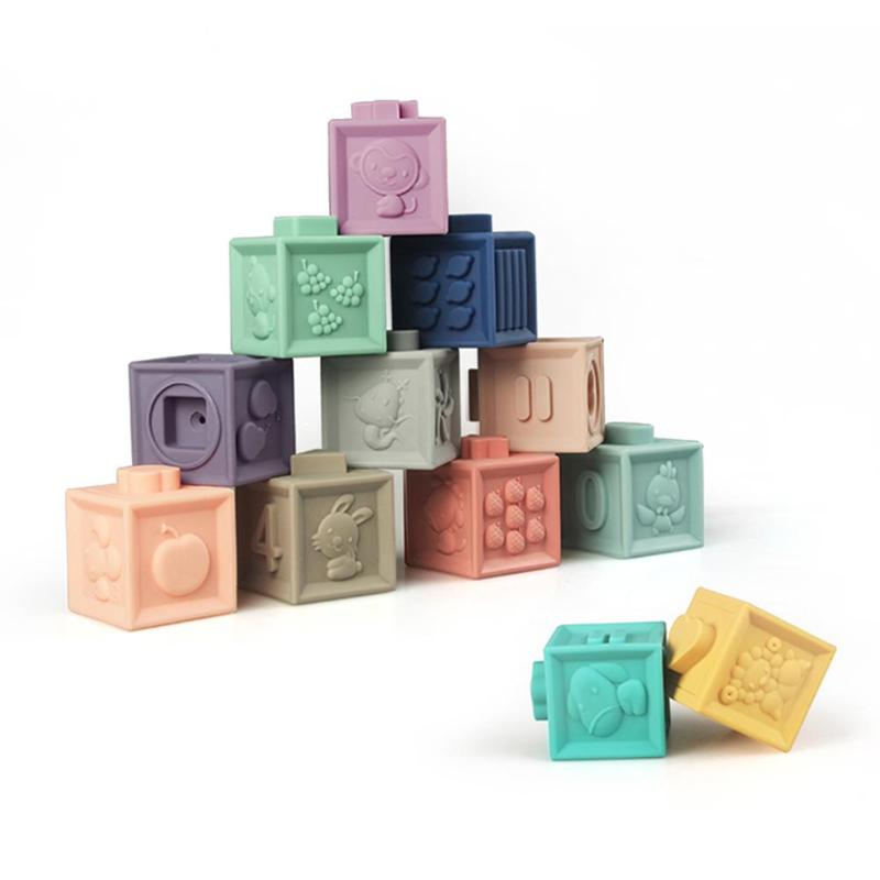 Cube Emboss Hand Ball Bricks Bath Teether 3D Touch Squeeze Baby Large Soft Plastic Silicone Rubber Building Blocks Toys for Baby