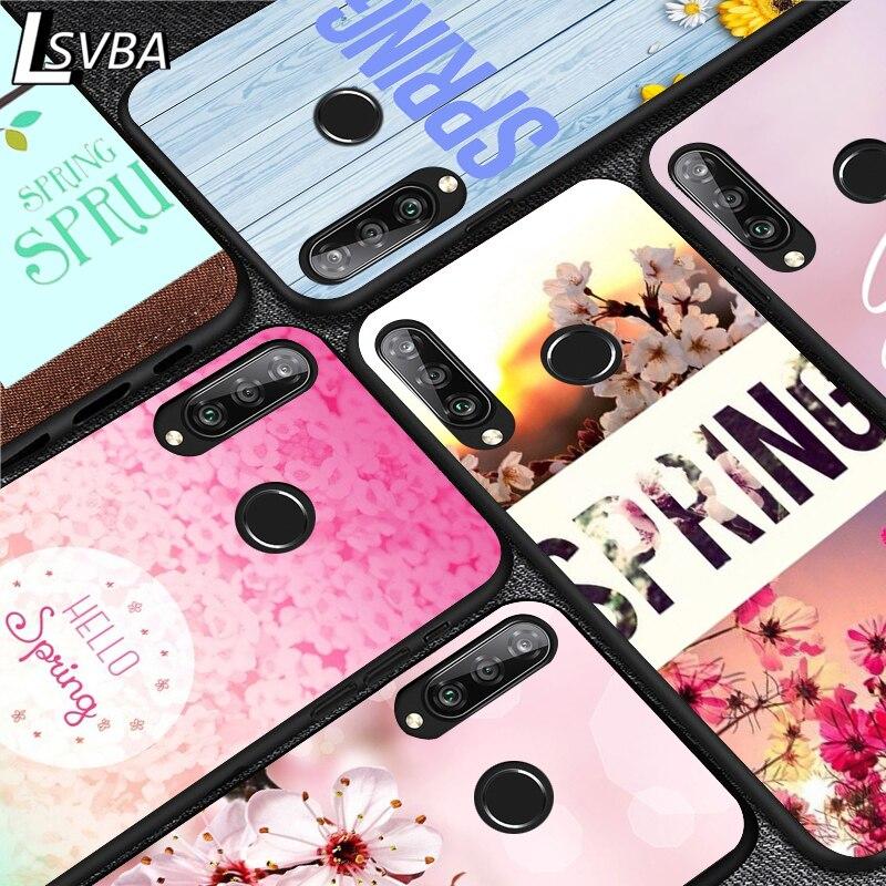spring flower Silicone Phone Case for Huawei P30 P20 P40 Lite E Pro P Smart Z Plus 2019 P10 P9 Lite Black Cover