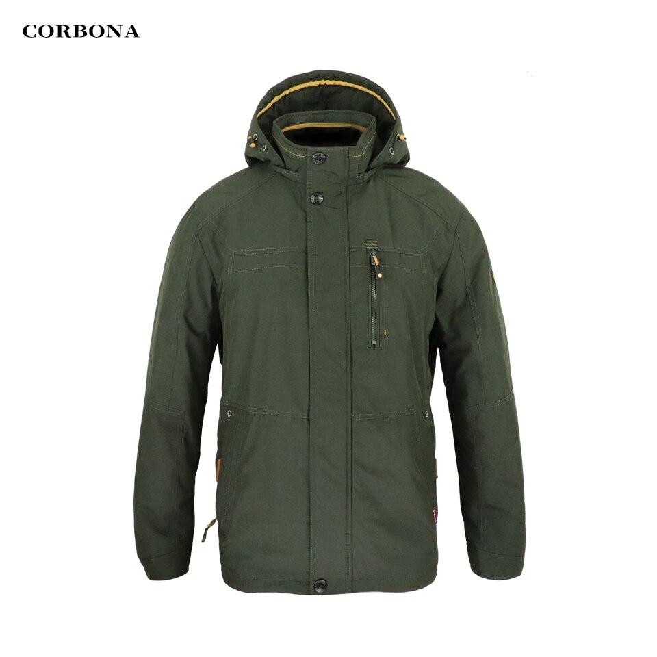 CORBONA 2021 نمط جديد الخريف الرجال سترة يندبروف في الهواء الطلق انفصال قبعة 100% القطن بطانة عالية طوق الأعمال معطف غير رسمي