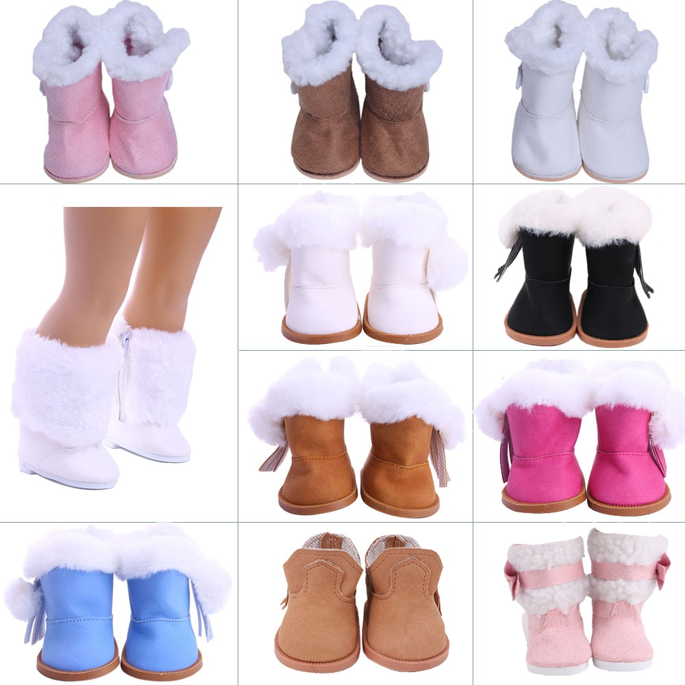 7Cm Doll Plush Snow Boots Shoes For 18 Inch American Of Girl`s &43Cm Baby New Born Reborn Doll Zaps Our Generation Girl`s Toy недорого