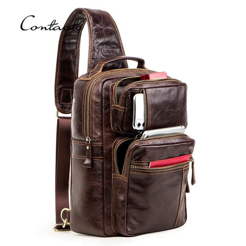 multifunction small backpack crossbody bag waterproof men chest bag 11 inch laptop ipad shoulder bag men s chest pack CONTACT'S Multifunction Crossbody Bag for Men Genuine Leather Chest Pack Male Messenger Bags for 13.3 Laptop Casual Chest Bag